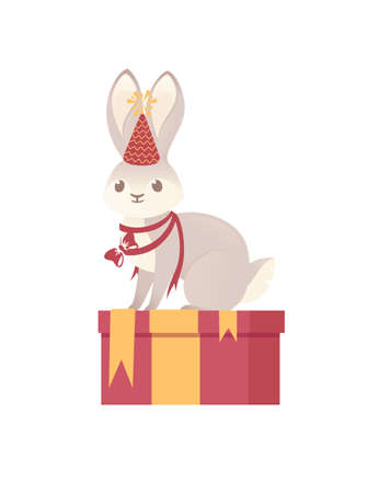 Cute gray bunny with cone hat and red bow sitting on gift box cartoon animal design vector illustration on white background Stock Illustratie