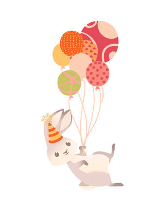 Cute gray bunny with cone hat flying on balloons cartoon animal design vector illustration on white background