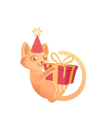 Cute cat with cone hat playing with gift box cartoon animal design vector illustration on white background Stock Illustratie