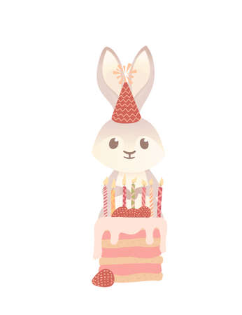 Cute gray bunny with cone hat ready to eating tasty strawberry cake cartoon animal design vector illustration on white background Stock Illustratie