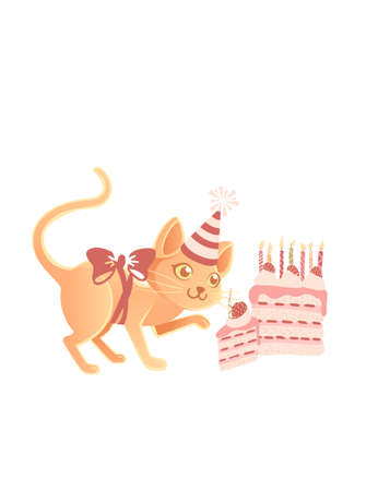 Cute cat with cone hat ready to eating tasty strawberry cake cartoon animal design vector illustration on white background Stock Illustratie