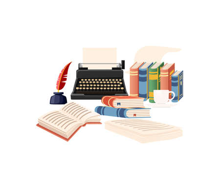 Writers workplace with books feather and retro typewriter vector illustration on white background
