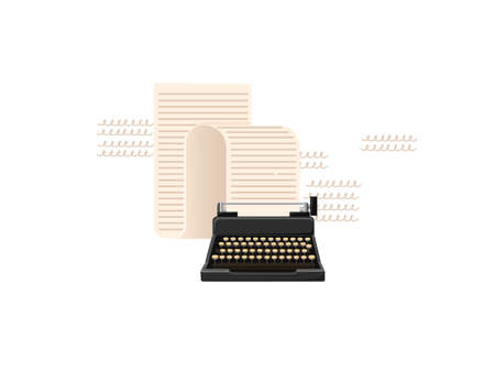 Retro style black color typewriter machine with long paper scroll vector illustration on white background