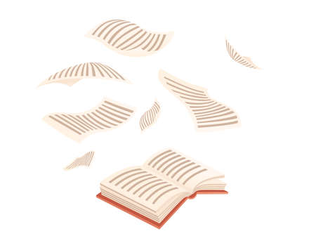 Open book with flying paper pages vector illustration on white background