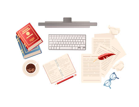 Computer with books papers and coffee writer workplace online education concept top view vector illustration on white background Stock Illustratie