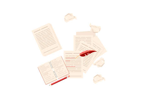 Writers workplace with books papers and feather top view vector illustration on white background Stock Illustratie