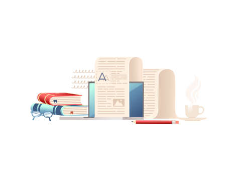 Computer monitor with long paper list books and pen online education concept vector illustration on white background Stock Illustratie