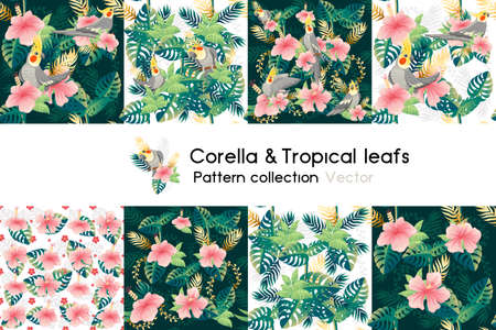 Pattern with seamless patterns collection of exotic green leaves with flower and corella parrot vector illustration on white background
