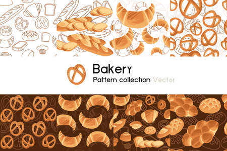 Pattern with seamless patterns collection of bakery products salty and sweet vector illustration on white background Stock Illustratie