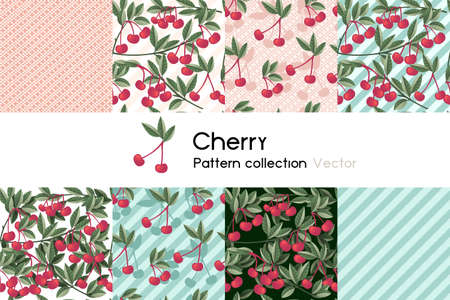 Pattern with seamless patterns collection of red cherry berry with leaves vector illustration on white background
