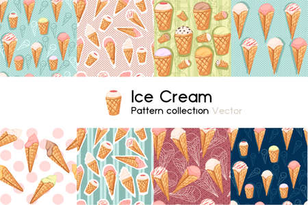Pattern with seamless patterns collection of ice cream cones with different fillings vector illustration on white background