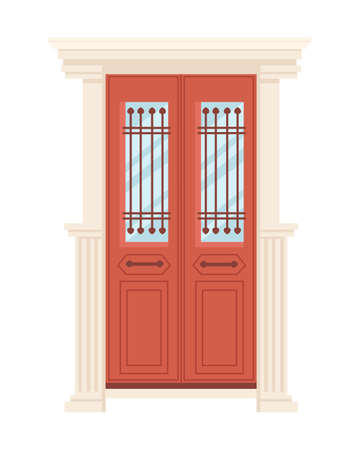 Red wooden retro door with glass vector illustration on white background