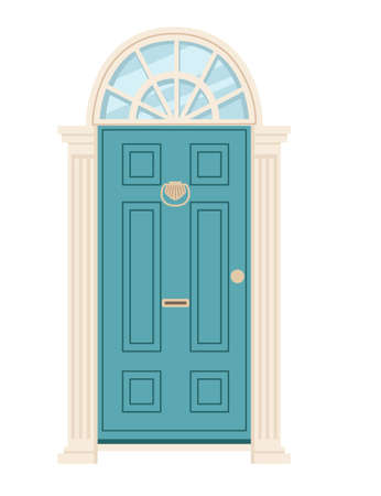 Turquoise wooden retro door with glass vector illustration on white background