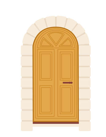 Yellow wooden retro door with glass vector illustration on white background Stock Illustratie