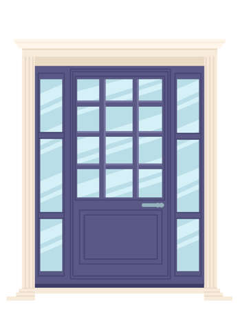 Purple wooden retro door with glass vector illustration on white background Stock Illustratie