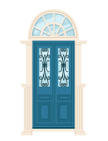 Blue wooden retro door with glass vector illustration on white background