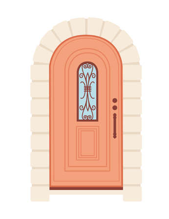 Beige wooden retro door with glass vector illustration on white background