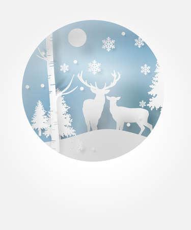 冬の季節とクリスマスに雪と森の中の鹿.