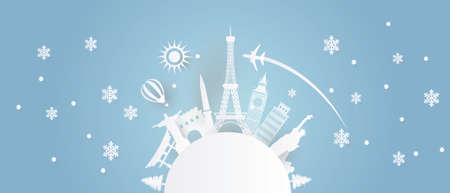 world poster banner art paper cut  イラスト・ベクター素材