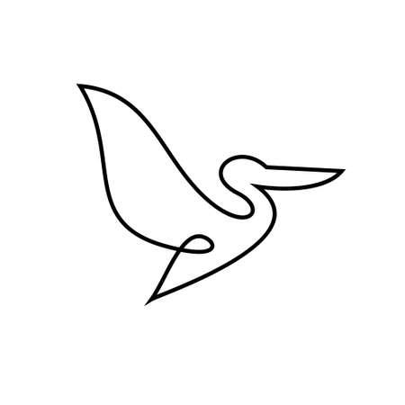 wzory ikon wektor linii pelikan Ilustracje wektorowe