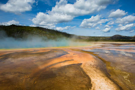 prismatic: Grand Prismatic Spring in Yellowstone National Park Stock Photo