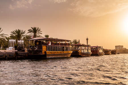 shipbuilding: DUBAI, UAE-MAY17: Traditional Abra ferries on May 17, 2015 in Dubai, UAE. Shipbuilding technology is unchanged from the 18th century. Editorial