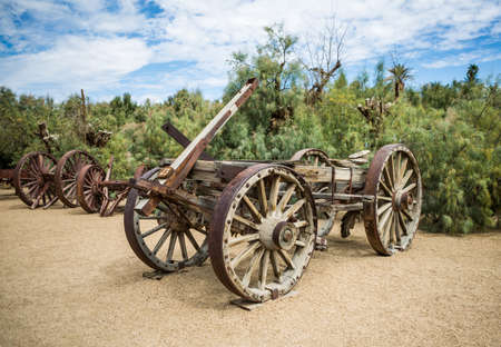 steam traction: DEATH VALLEY, USA - JUNE 13,2015 - The Harmony Borax Works is located in Death Valley at Furnace Creek Springs.