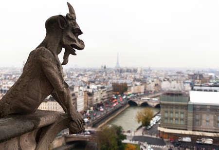 gargouille: PARIS, FRANCE - 29 novembre 2013: Gargouille de la cath�drale de Notre Dame de Paris avec vue sur Paris, France