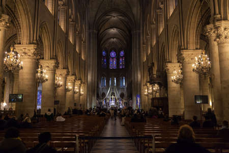 tabernacle: PARIS, FRANCE - NOVEMBER 29, 2013:Interior view of Notre-Dame Cathedral,  one of the finest examples of French Gothic architecture in Paris. Editorial