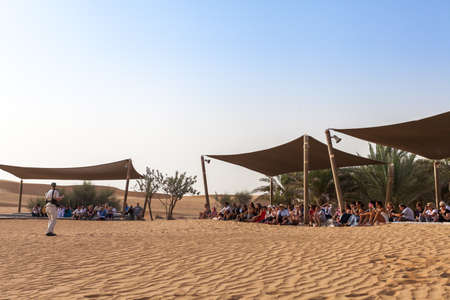 may fly: DUBAI, UAE - 11 MAY, 2014: Safari - hawk fly show, traditional entertainment for tourists. Editorial