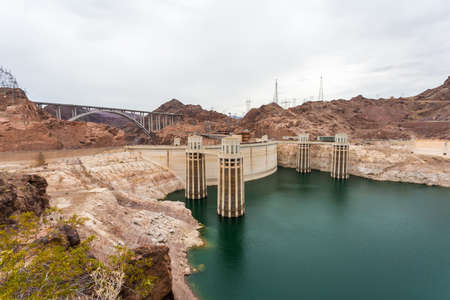 hydroelectricity: The famous Hoover Dam hydroelectric power plant at the Nevada-Arizona border. Stock Photo