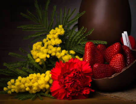 chocolate egg: Chocolate Egg with strawberries and mimosa flower