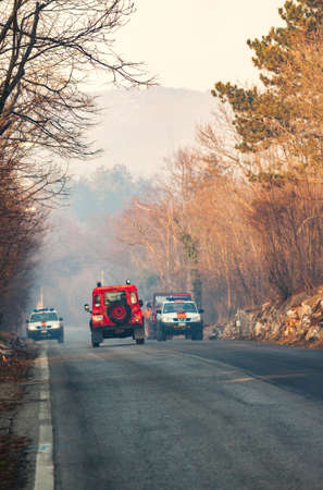 extinguish: VILLA OPICINA,TRIESTE,ITALY - MARCH 6, 2013 - Civil protection of Friuli Venezia Giulia in action for extinguish a big fire in the forest. Editorial