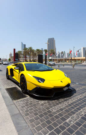 DUBAI, UAE - MAY 27, 2015 : Lamborghini Aventador sports car, near the Dubai Mall, United Arab Emirates MAY 27, 2015