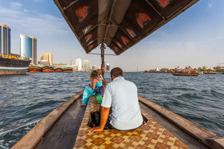 shipbuilding: DUBAI, UAE-MAY17: Traditional Abra ferries  on May 17, 2015 in Dubai, UAE. Shipbuilding technology is unchanged from the 18th century.