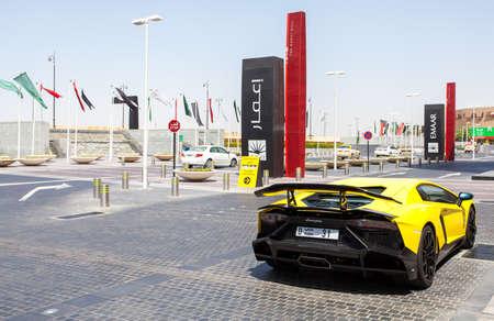 pirelli: DUBAI, UAE - MAY 27, 2015 : Lamborghini Aventador sports car, near the Dubai Mall, United Arab Emirates MAY 27, 2015
