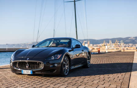 MUGGIA, ITALY MARCH 16, 2013: Photo of a Maserati GranTurismo S. 에디토리얼