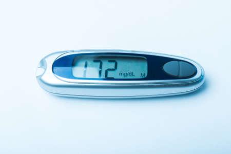 blood glucose meter: Diabetic kit, Syringe pen with insulin and glucometer, Blood glucose test, Blood glucose meter kit. TONED IMAGE. Stock Photo