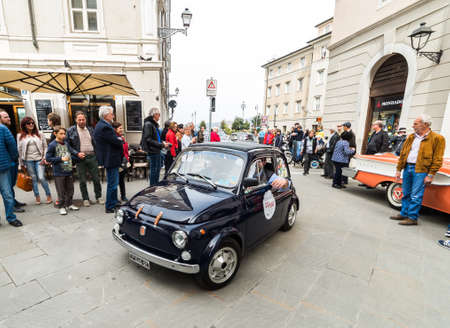 regularity: TRIESTE, ITALY - APRIL 3: Photo of a Fiat 500 on the Trieste Opicina Historic. APRIL 3, 2016. Trieste Opicina Historic regularity is run for Vintage and Classic Cars.