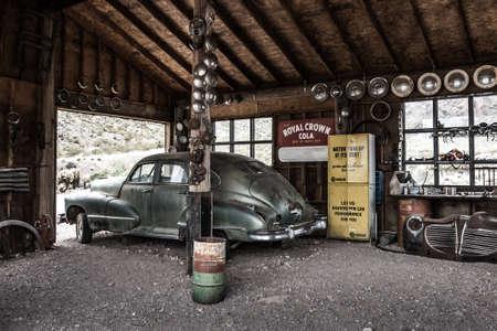 NELSON , USA - JUNE 10 : Rusty old vintage car in abandoned mechanic garage Nelson Nevada ghost town on June 10 ,2015 Redakční