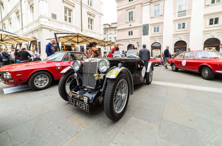 regularity: TRIESTE, ITALY - APRIL 3: Photo of a rare British MG model on the Trieste Opicina Historic. APRIL 3, 2016. Trieste Opicina Historic regularity is run for Vintage and Classic Cars.
