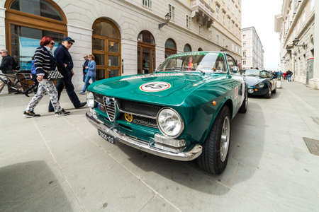 alfa: TRIESTE, ITALY - APRIL 3: Alfa Romeo GT Junior 1300 on APRIL 3, 2016. Trieste Opicina Historic regularity is run for Vintage and Classic Cars.