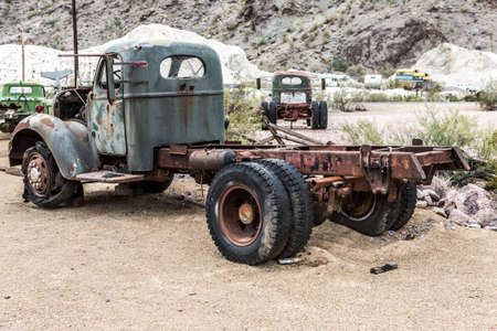 oldie: NELSON , USA - JUNE 10 : Old rusty truck in Nelson Nevada ghost town on June 10 ,2015