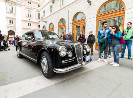 regularity: TRIESTE, ITALY - APRIL 3: Photo of Lancia Aurelia b20 on the Trieste Opicina Historic. APRIL 3, 2016. Trieste Opicina Historic regularity is run for Vintage and Classic Cars.