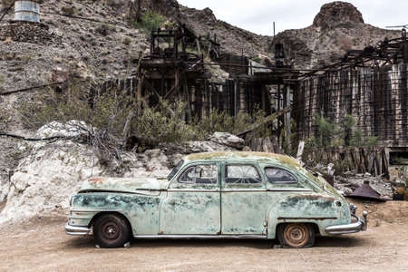 rusty car: NELSON , USA - JUNE 10 : Old rusty car in Nelson Nevada ghost town on June 10 ,2015