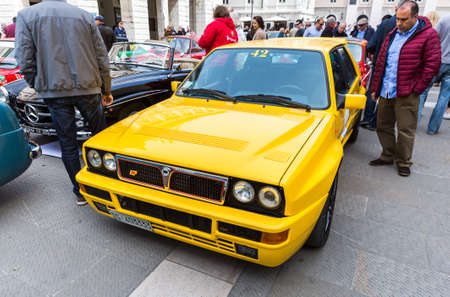 regularity: TRIESTE, ITALY - APRIL 3: Photo of a Lancia Delta Evolution on the Trieste Opicina Historic. APRIL 3, 2016. Trieste Opicina Historic regularity is run for Vintage and Classic Cars.