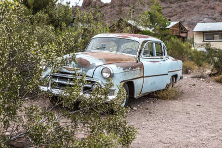 oldie: NELSON , USA - JUNE 10 : Old rusty car in Nelson Nevada ghost town on June 10 ,2015