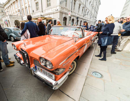regularity: TRIESTE, ITALY - APRIL 3: Photo of a 1958 Edsel on the Trieste Opicina Historic. APRIL 3, 2016. Trieste Opicina Historic regularity is run for Vintage and Classic Cars.