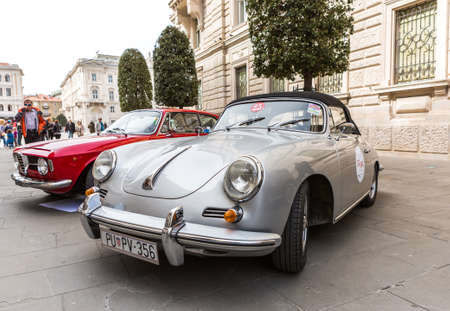 regularity: TRIESTE, ITALY - APRIL 3: Photo of a rare Porsche 356 Speedster model on the Trieste Opicina Historic. APRIL 3, 2016. Trieste Opicina Historic regularity is run for Vintage and Classic Cars.