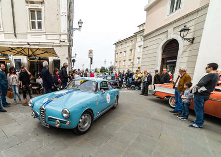 alfa: TRIESTE, ITALY - APRIL 3: Photo of a Alfa Romeo Giulietta Sprint model on the Trieste Opicina Historic. APRIL 3, 2016. Trieste Opicina Historic regularity is run for Vintage and Classic Cars.